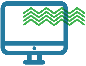 graphic depicting a simplified outline of a computer screen in blue, with 5 zig-zag lines in green going across the top right