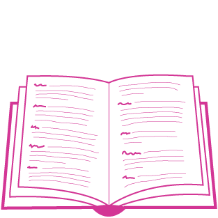 A graphic in pink depicting an open book with non-readable text in the form of dictionary entries