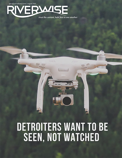 Riverwise Magazine cover, featuring a white drone with a background of trees
