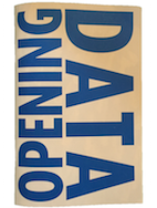 "Opening Data Zine cover - white background with ""opening data"" in blue text"