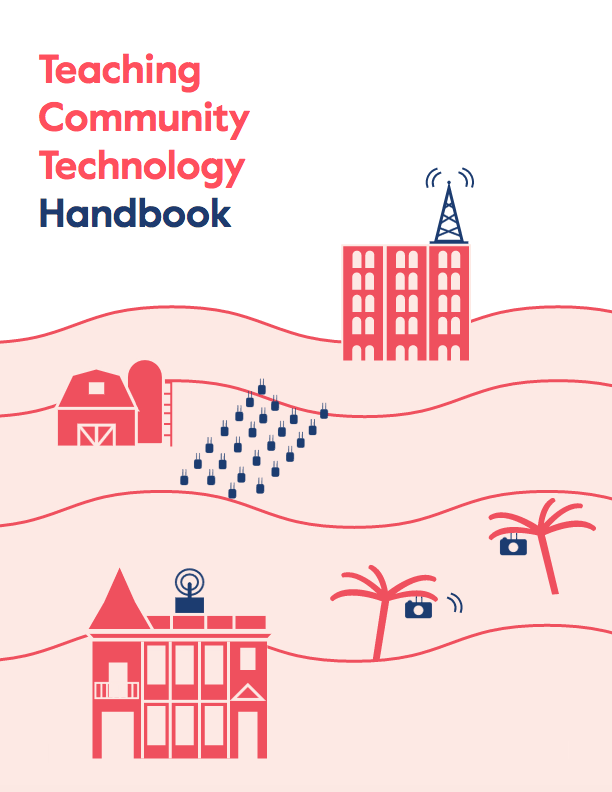 Cover of the Teaching Community Tech handbook. Three-color computer illustration of buildings and routers on a hillside.