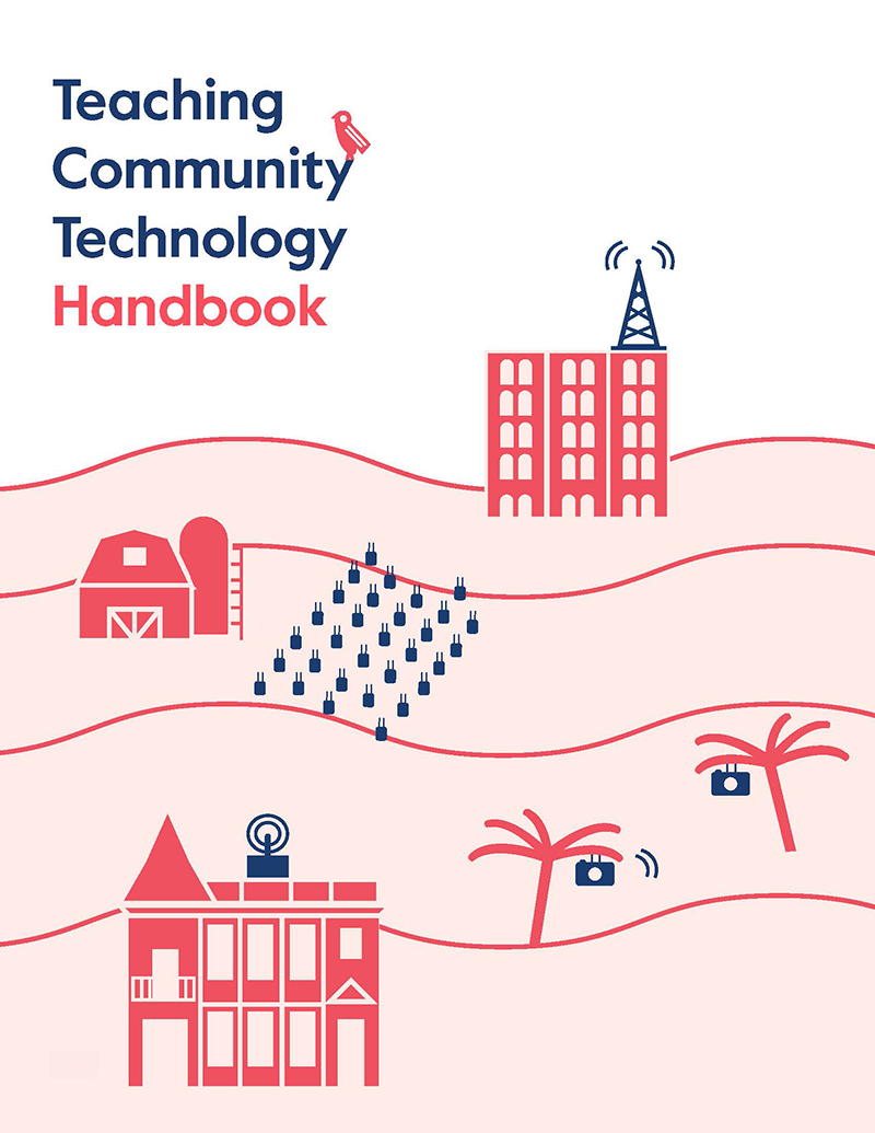 Teaching Community Tech Handbook cover. Light, salmon, and blue design, featuring buildngs, trees, and routers, on a white background