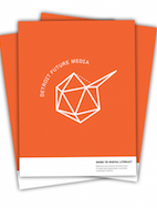 Detroit Future Media Guide to Digital Literacy - orange cover with white text and a line drawing of a geodesic sketch