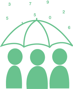 A green graphic showing three people under an umbrella, with numbers falling from above